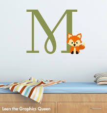 Woodland Forest Peel And Stick Fox Monogram Initial Wall Decal Woodland Forest Animal Theme