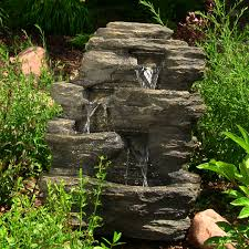 Outdoor Water Features With Lights by Sunnydaze Rock Falls Outdoor Waterfall Fountain
