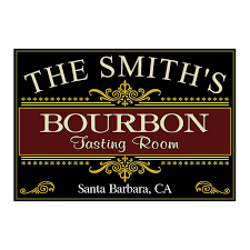 bourbon sign personalized bourbon tasting room sign wine enthusiast