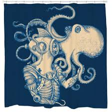 Sourpuss Shower Curtain Delightful Graphic Shower Curtain Part 8 Deep Sea Discovery