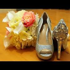 wedding shoes size 9 silver satin wedding shoes size 9 condition worn for