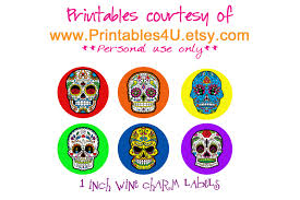 halloween charms tammysantana com sugar skull wine charms with free printable