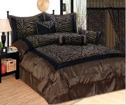 Zebra Bedroom Set 7pc King Zebra Bedding Black Brown Flock Satin Comforter Set