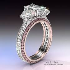 rings pink stones images Three stone princess and pink sapphire engagement ring jpg
