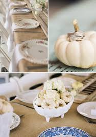 White Ceramic Pumpkin Centerpiece by Green And White Fall Wedding Ideas