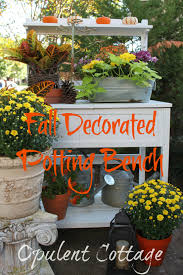 opulent cottage decorating the potting bench for fall