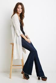 forever 21 sheer lace paneled kimono in white lyst