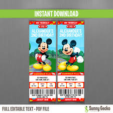 disney mickey mouse clubhouse birthday ticket invitations