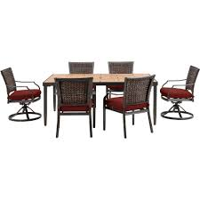 red patio dining sets hampton bay beverly 7 piece wicker outdoor patio dining set with