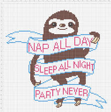 cross stitch pattern design software pattern nap all day sleep all night party never sloth pattern