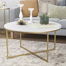 marble gold coffee table amazon com we furniture 36 coffee table with x base faux marble