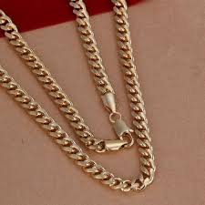 copper necklace chains images 20 39 39 7mm close fitting yellow gold plated copper chain necklace jpg