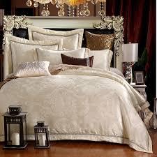 Jacquard Bed Set New Silk Cotton Satin Luxury Jacquard Bedding Set Hollow Lace