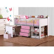 Loft Bed With Computer Desk Savannah Storage Loft Bed With Desk White And Pink Walmart Com