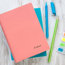 personalised coloured leather notebook by begolden