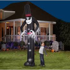 halloween airblown inflatable 12 u0027 x 4 u0027 giant skeleton ghoul yard