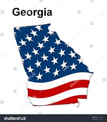 Georgia Flag State Map State Georgia American Flag Stock Illustration 11977564
