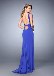 fitted jersey sapphire blue sweetheart v neck cutout back pageant