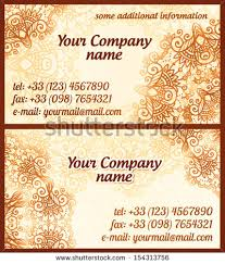 mehndi cards mehndi style vintage vector business cards stock vector 154313756