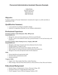 Resume Work History Examples by Resume Objective Samples Administrative Assistant Sample Skills