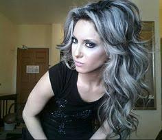 gray hair streaked bith black gray hair with black highlights alexa pinterest black