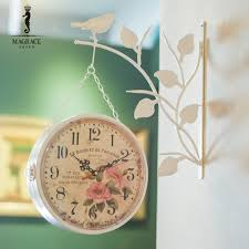 wholesale modern brief side hanging double side wall clock bird