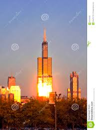 willis tower in chicago in evening editorial image image 50703295