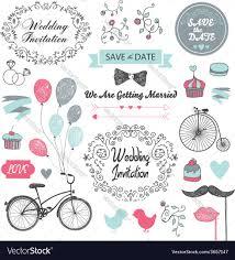 Vintage Wedding Invitation Card Set Of Vintage Wedding Invitation Design Elements Vector Image