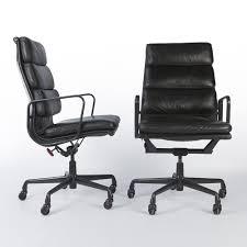 original vintage pair herman miller ea219 black leather office