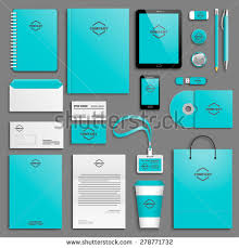 stationery set blue pink corporate identity template set stock vector 353731361
