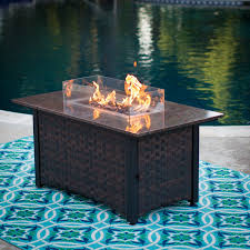 Ember Table Red Ember Seagrove 48 In Rectangle Propane Fire Pit Table With