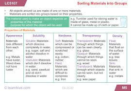 learnhive cbse grade 6 science sorting materials into groups