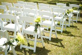 white wedding chairs destination wedding at sunset ranch hawaii two bright lights