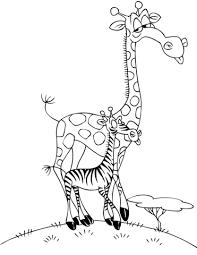 cartoon giraffe zebra coloring free printable