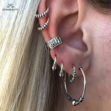 earring top of ear 7pcs lot boho tibetan silver top ear tragus piercings hoop helix