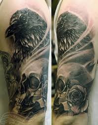 off the map tattoo tattoos realistic crow skull rose tattoo