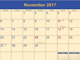 november 2017 calendar thanksgiving printable template with holidays