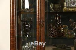 Beveled Glass China Cabinet Curved Glass 1900 Antique Oak China Cabinet Curio Display Leaded