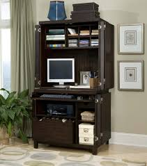 furniture black stained wood hutch computer table with door and