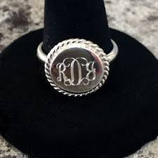 Sterling Silver Monogram Rings Monogrammed Boot Cuff Socks Personalized From Initiallyyu On Etsy
