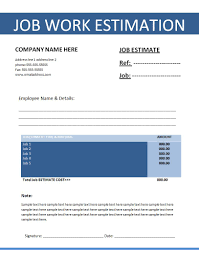 job estimate template resumewordtemplate org