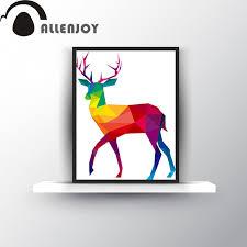 animal polygon abstract deer reindeer color poster decoration