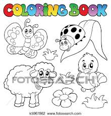 clipart coloring book spring animals k5967862