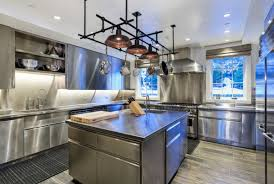 appliances amazing stylish contemporary sculptural modern kitchen amazing stylish contemporary sculptural modern kitchen with a pot rack also stainless steel kitchen cabinets with kitchen island laminate wooden flooring
