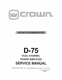 crown d 75a service manual