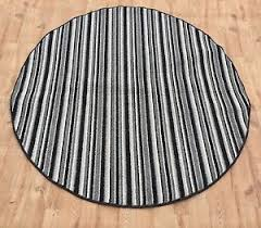 Silver Grey Rug Modern Striped Circle Rugs Carpets Black Charcoal Round Mats
