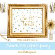 Blue And Gold Baby Shower Decorations by Sweet Treats Party Sign For Dessert Table Baby Blue Gold