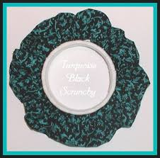 hair scrunchy turquoise and black hair scrunchy pony wrap scrunchie elastic