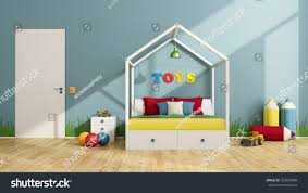 Toddler Bedroom Toys Colorful Children Bedroom Canopy Bed Closed Stock Illustration