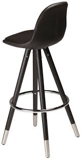 Black Leather Bar Stool Buy Orso Black Leather Bar Stool With Matte Cap Stained Oak Legs